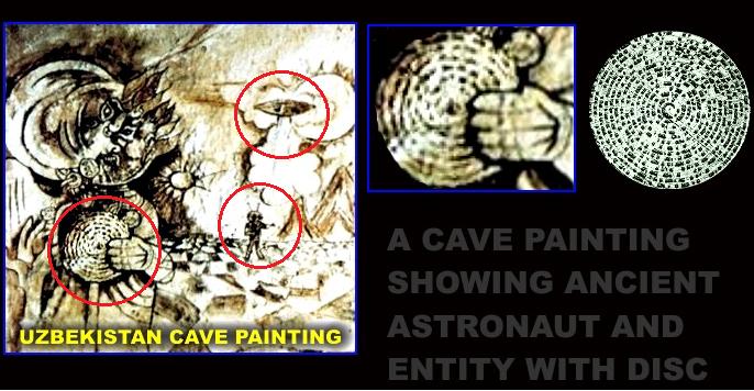 Uma pintura na caverna mostrando um antigo astronauta e uma entidade com um disco.