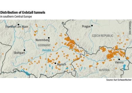 Distribuição dos túneis de Erdstall na Europa Central.