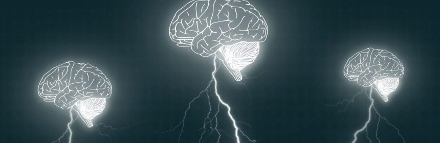 Brainstorm - Three brains with lightning bolts - Brainstorming concept